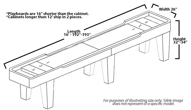 16 Foot Competitor II Shuffleboard McClure Tables