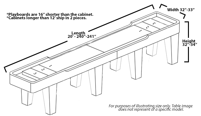 Foot Patriot Shuffleboard Table McClure Tables - Standard shuffleboard table