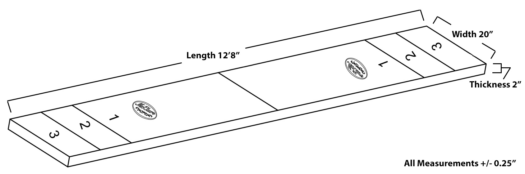 Shuffleboard table dimensions