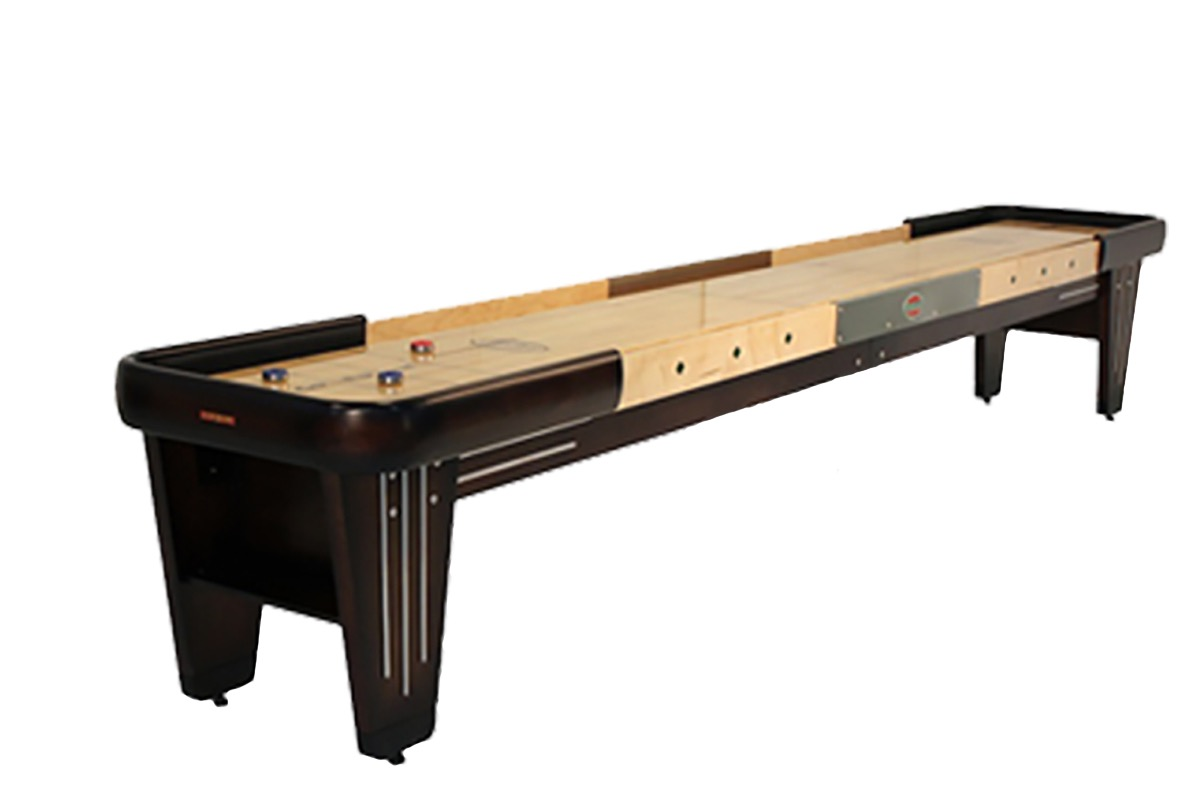 12 foot rock ola walnut shuffleboard table mcclure tables for 12 foot shuffle board table
