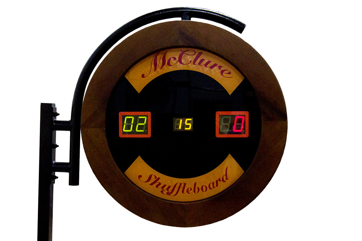 Large walnut Electronic Shuffleboard Score unit