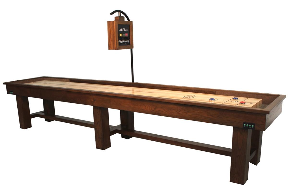 16 Foot Ponderosa Oak Shuffleboard Table McClure Tables Rustic