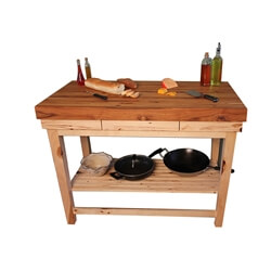 Hickory Kitchen Butcher Block Island Cart