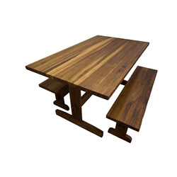 Walnut Trestle Table and Benches with Through Mortise and Tenon Joint Base