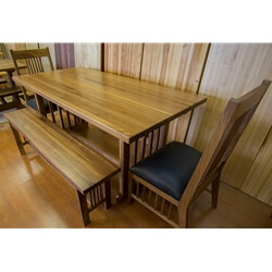 Walnut Nottingham Table and Benches and Chairs