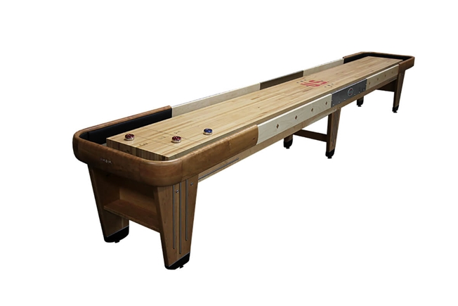 14 foot Rock-Ola Cherry shuffleboard table