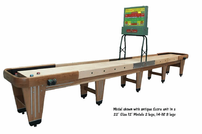 22 foot Rock-Ola Cherry shuffleboard table